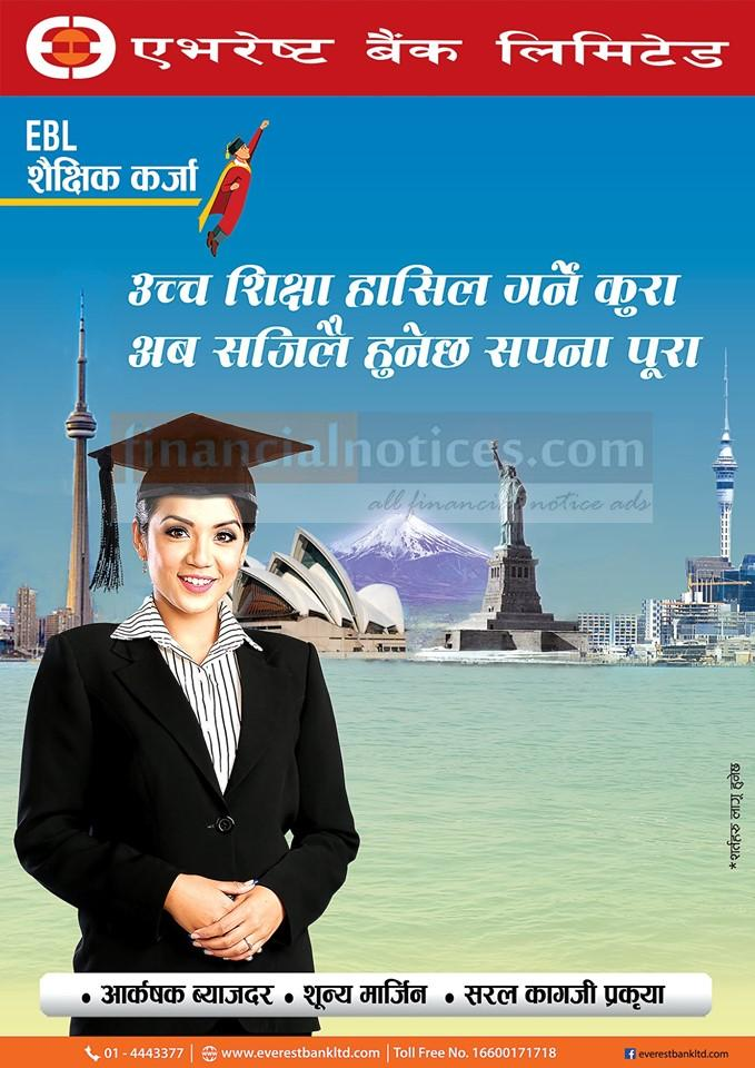 Now realise your dream of studying abroad with Everest Education Loan Scheme.