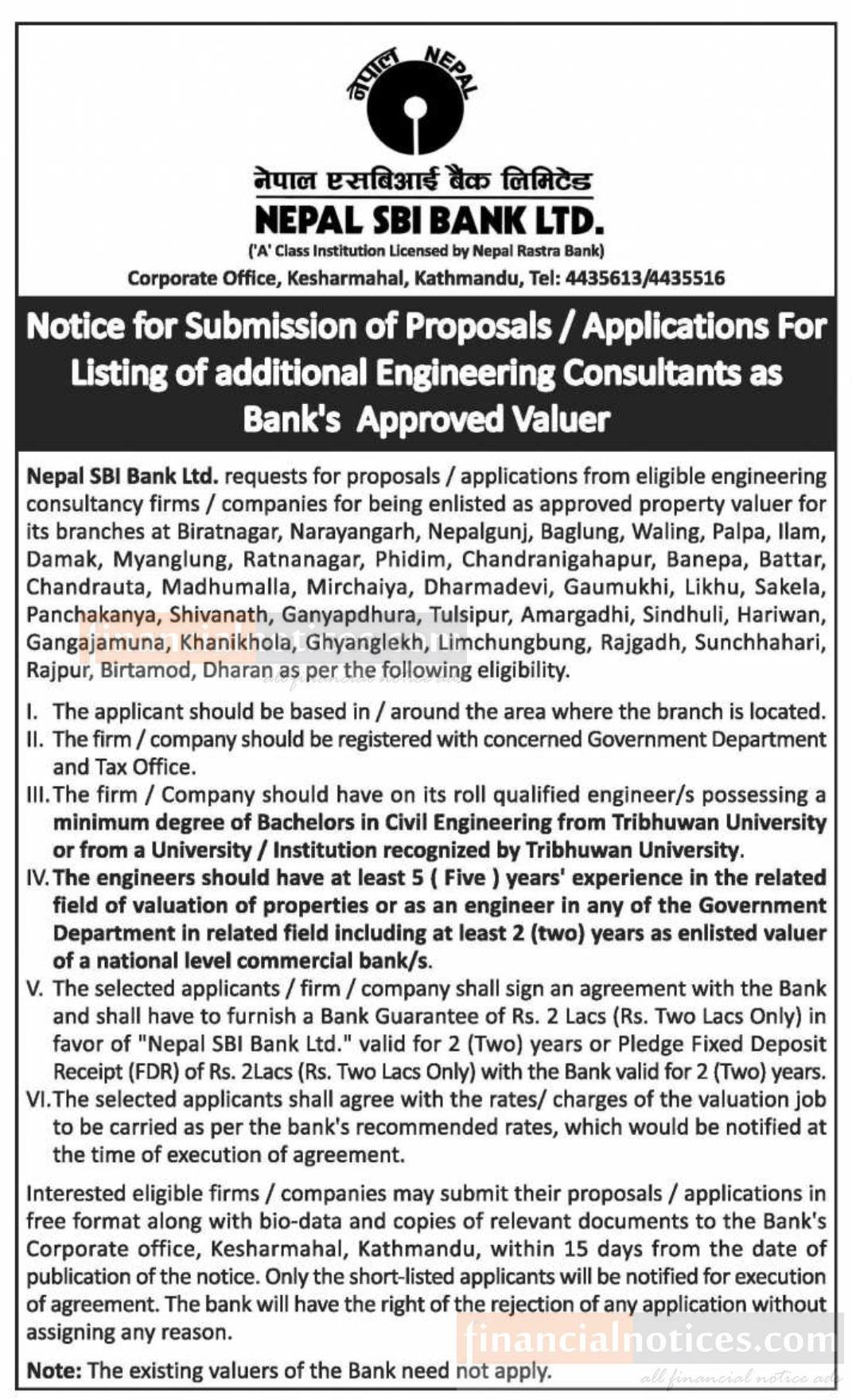 Notice for Submission of Proposal