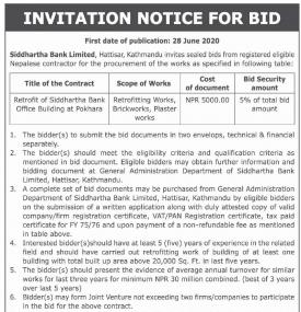 Invitation Notice for Bids