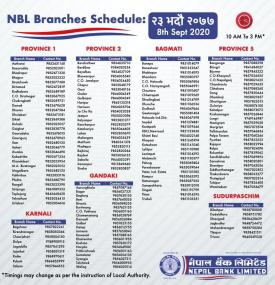 Branch Opening Hours on 23rd Bhadra