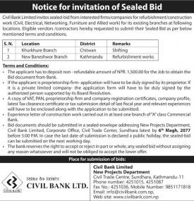 Notice for Invitation of Sealed Bid