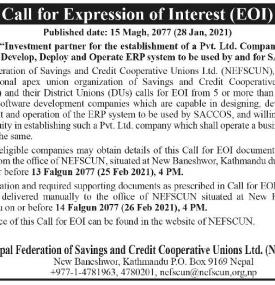 Call for Expression of Interest (EOI)