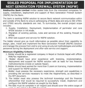 Sealed Proposal for Implementation of NGGW