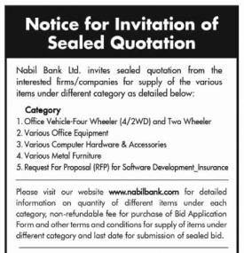 Invitation of Sealed Quotation