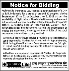Notice for Bidding