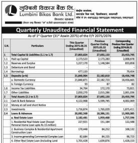 Quarterly Unaudited Financial Statement