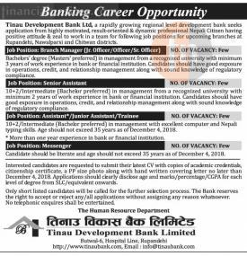 Tinau विकास बैंकमा जागिर खुल्यो - Job