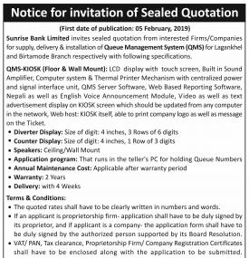 Notice for invitation of Sealed Quotation
