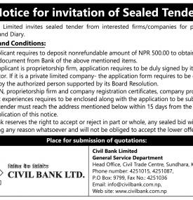 Notice for invitation of Sealed Tender