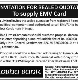 Re-Invitation for Sealed Quotation