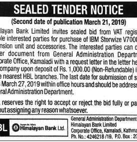 Sealed Tender Notice