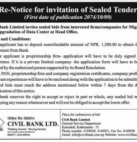Re-Notice for Invitation of Sealed Tender