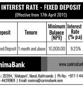 Interest Rate - Fixed Deposit