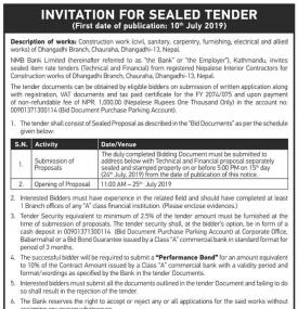 Invitation for Sealed Tender