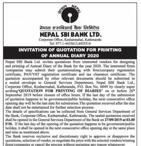Invitation of Quotation for Printing