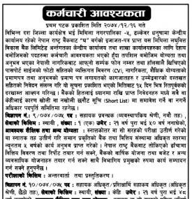 कर्मचारी आवश्यकता- Job Vacancy