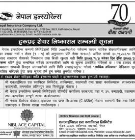 Right Share Issue Notice