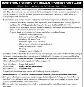 Invitation for Bid for HRM Software