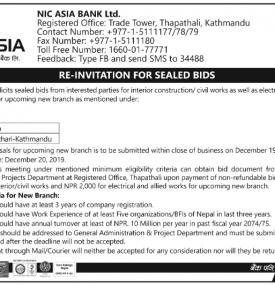 Re -Invitation for Sealed Bids