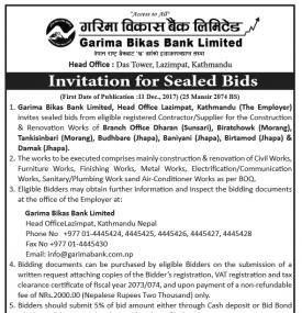 Invitation of Sealed Bids
