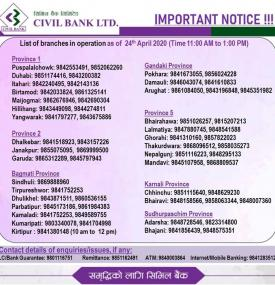 Civil Banking Hours Service