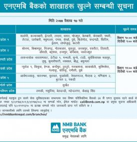 Notice on branch opening for Baisakh 17