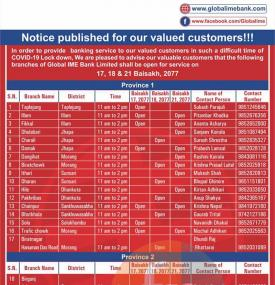 Global IME Branch Opening Notice (Province 1 -7)